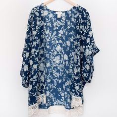 Printed Kimono With Lace Perfect for layering! 100% polyester. Tops
