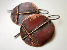 A Time Before Kings - primitive industrial fold formed copper disc circle pagan dark rusty red patina inverted cross light metalwork earring by LoveRoot