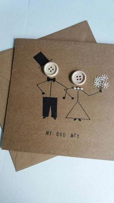 Wedding card mr and mrs marriage wedding day greetings card kraft buttons bride groom is part of Wedding cards handmade - A lovely quirky wedding card with stickman bride and groom Handmade on card with 120 gsm envelope and measures Wedding Anniversary Greeting Cards, Wedding Card Messages, Wedding Day Cards, Anniversary Crafts, Wedding Greetings, Wedding Cards Handmade, Greeting Cards Handmade, Love Cards Handmade, Hand Made Greeting Cards
