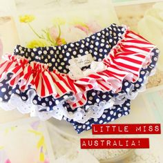 Little Miss Australia Ruffles Nappy Cover  Ruffles Australia Day Patriotic