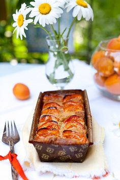 Apricot Bread with Walnuts and Peaches in Vanilla Sauce