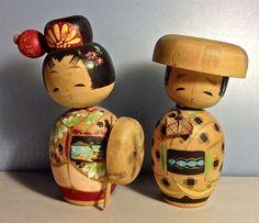 Pair Vintage 50s Japanese Kokeshi Wooden Nodder Dolls with Accessories