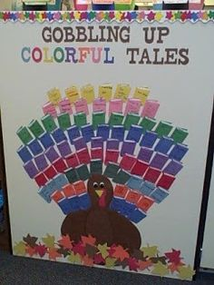 Bulletin board I designed for my classroom. Any time my students read a book during the month of October, they wrote their name and the title on a book diecut, which I used to make the tail feathers. November Bulletin Boards, Thanksgiving Bulletin Boards, Bulletin Board Paper, Teacher Bulletin Boards, Reading Bulletin Boards, Bulletin Board Display, Classroom Bulletin Boards, Classroom Decor, Reading Boards