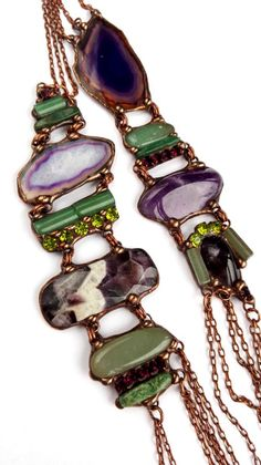 Long+necklace+violet-green+from++Witrażka+-+jewelry+made+of+semiprecious+stones+by+DaWanda.com