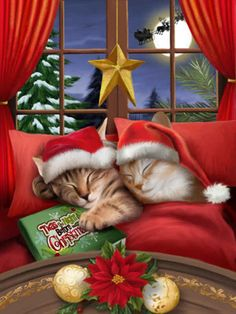 All A Merry Christmas 500 Pc Jigsaw Puzzle By Sunsout - Christmas Puzzle,,Christmas Day Products,Gifts Products Christmas Jigsaw Puzzles, Christmas Puzzle, Merry Christmas Everyone, Christmas Scenes, Christmas Images, Christmas Time, Xmas, Christmas Kitten, Christmas Animals