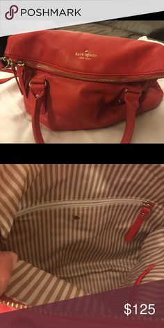 """Leather Kate Spade Bag Orange pebbled leather, crossbody and shoulder straps, 12""""W 9""""H, gold accents, excellent condition; used less than 5 times kate spade Bags Crossbody Bags"""