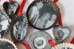 Photo ornaments in cookie cutters and mini tins DIY.  Include a photo of the bride and groom for wedding ornament favors.