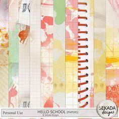 Hello School Bundle, a digital scrapbooking kit from MyMemories Digital… School Sets, Soft Colors, Word Art, Digital Scrapbooking, Digital Art, Doodles, Display, Paper, Fun