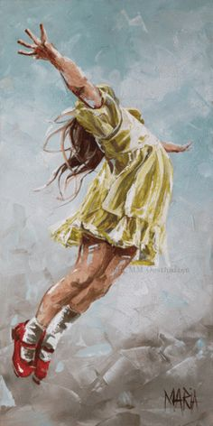 Girl jumping in praise, prophetic art. So precious! M17004 - He will Rejoice over you