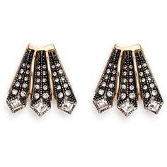 Lulu Frost 'Brigitte' glass stone Art deco stud earrings ($140) ❤ liked on Polyvore featuring jewelry, earrings, metallic, art deco stud earrings, vintage glass bead jewelry, vintage earrings, deco jewelry and glitter stud earrings