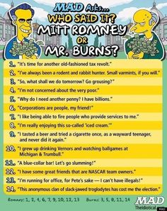 """Who said it? Mitt Romney or Mr. Burns"""