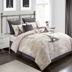 Add sophisticated charm into your bed oasis with Paris Reversible Comforter Set. This lovely set features Parisian and script prints on rose gold, and includes a comforter, pillow shams, a bed skirt and decorative throw pillows to complete the look. Full Comforter Sets, Duvet Sets, King Comforter, Rose Gold Decor, European Pillows, King Pillows, Pillow Shams, Throw Pillows, Bed Duvet Covers