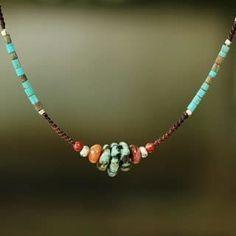 """Items similar to NOVICA Fair Trade Multi Gemstone Beaded Necklace, """"Bohemian Harmony"""" on Etsy Wire Jewelry, Boho Jewelry, Beaded Jewelry, Jewelery, Silver Jewelry, Jewelry Necklaces, Fashion Jewelry, Beaded Bracelets, Jewelry Ideas"""