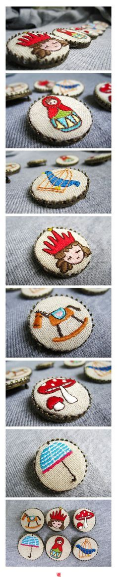 bottle cap embroidery - miniature