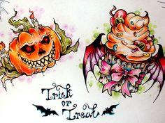 HALLOWEEN Tattoo Flash   trick or treat 30 Impossible Tattoo Flash Art