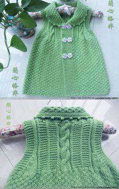 Kids # sundress # on # buttons # knitting. Baby Knitting Patterns, Baby Girl Dresses, Baby Dress, Crochet Baby, Knit Crochet, Baby Pullover, Baby Sweaters, Knitting Needles, Kind Mode