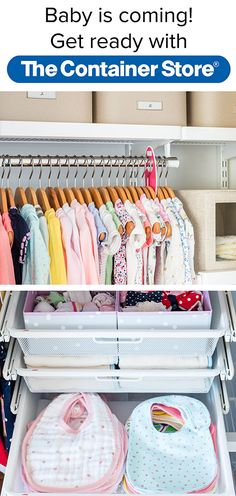 Keep Everything From Baby Clothes To Bibs And Toys Organized In A New Elfa  Nursery Closet