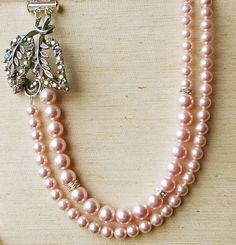 Vintage Rhinestone Leaves & Swarovski Rose Pink Pearl Double Strand  Necklace