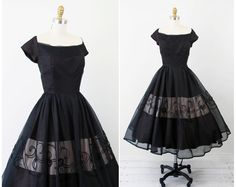 vintage 1950s 50s dress // Black and Pink Sheer Organza and Taffeta Cupcake Dress with Lace and Rhinestone Appliques