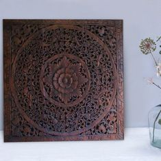 Imagine: beautiful, Thai wooden carving as an eyecatcher in your living room. Check out our unique collection! Wooden Wall Panels, Wooden Walls, Wall Panel Design, Sacred Lotus, Religious Symbols, Hand Carved, Objects, Carving, Tapestry