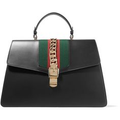 Gucci Sylvie large chain-embellished leather tote (€4.070) ❤ liked on Polyvore featuring bags, handbags, tote bags, gucci, black, gucci handbags, laptop tote bag, leather tote bag, leather laptop tote and gucci purse