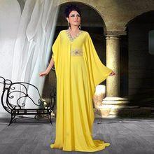 E3154 Elegante Amarelo Longo Vestidos de Noite 2016 A Linha V neck Frisada Cintura Até O Chão Vestidos Formais Vestidos de Festa Vestidos de Dubai(China (Mainland))