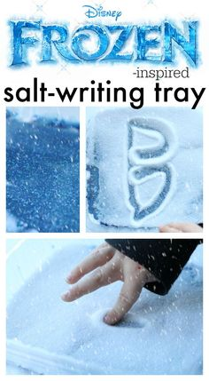 Great for fine motor practice!  Frozen-inspired Salt Tray Writing!  The bottom layer has the same smooth, shiny texture as ice!