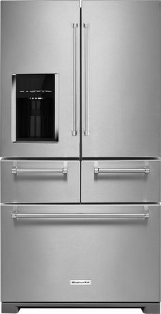 in Stainless Steel by KitchenAid in Denver, CO - Cu. 36 Multi-Door Freestanding Refrigerator with Platinum Interior Design - Stainless Steel Kitchenaid Refrigerator, Best Refrigerator, Stainless Steel Refrigerator, Stainless Steel Doors, Stainless Steel Appliances, Side By Side Refrigerator, Modern Refrigerators, Kitchen Aid Appliances, Kitchen Stove