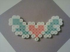 perler mini flying heart by Perler Bead Designs, Easy Perler Bead Patterns, Perler Bead Templates, Hama Beads Design, Diy Perler Beads, Perler Bead Art, Melt Beads Patterns, Beading Patterns, Loom Patterns