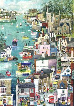 """Riverside at Fowey"" Original Painting by Serena, Cornish Naive Artist. Available as blank art-cards. Art And Illustration, Graffiti Kunst, Seaside Art, Art Pictures, Photos, Arte Popular, Naive Art, Illustrators, Folk Art"