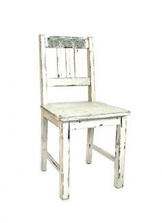 Postarzane krzesło z ornamentem
