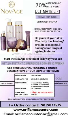 Oriflame NovAge Skin Care. It actually tightens amd lifts the skin of your face. Amazing product. 100% gurantee..