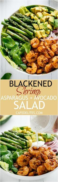Blackened Shrimp, Asparagus and Avocado Salad with Lemon Pepper Yogurt Dressing | http://cafedelites.com
