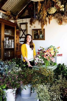 Wagga florist Sophie surrounded by flowers in her shed workshop Painted Cottage, Growing Seeds, Interior Stylist, Glass House, Artist At Work, Wedding Season, Indoor Plants, Planting Flowers, Flower Arrangements