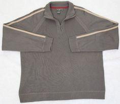 Eddie Bauer Sweater Polo Collared Mens Large Solid Cotton Green Beige Half Zip #EddieBauer #Polo