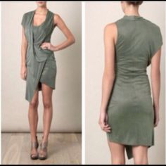 Helmut Lang Shale Asymmetrical Draped Dress This satin-jersey dress is beautiful & has only been worn once. It is a grayish/green color, double layered bodice, asymmetrical, draped. Helmut Lang Dresses