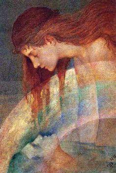 Pre Raphaelite Art ~ Phoebe Anna Traquair - Love's Testament 1898  oil on canvas