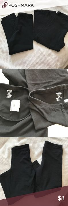 Girl's Old Navy Black Cropped Leggings 10-12 Used condition. One pair has been worn a few more times than the other pair. Old Navy Bottoms Leggings