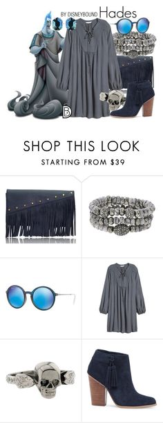 """""""Hades"""" by leslieakay ❤ liked on Polyvore featuring Driftwood, Hipchik, Ray-Ban, Metal Couture, Sole Society, Kendra Scott, disney and disneybound"""