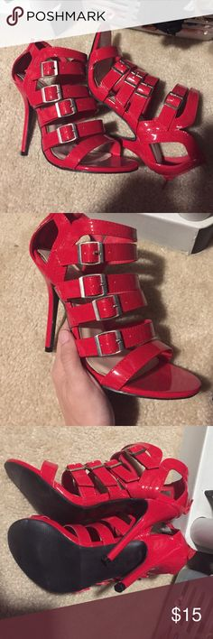 ❤️Brand New! Red Pumps with BUCKLES❤️ These are really cute and not too high of a pump. They are a gorgeous red color and have 4 buckles down 6 straps in front. Zippers in back. Brand new. Never worn! Size 6.5 bundle to save!!  Wild Diva Shoes Heels