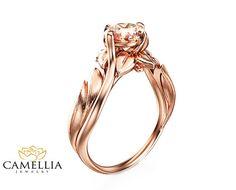 14K Rose Gold Morganit Verlobungsring Leaf von CamelliaJewelry
