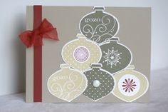 Designed by maryross: 17 Dias para Navidad, 17 days before Christmas, chirstmas card or invitation, made with ornament punch and delightful decorations stamp set from stampin up