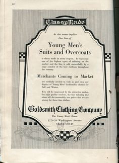 Illustrated ad for #menswear #suits from the #1920s #stl #stlouis #oldads #index #history #fashion #fashionhistory #b2b #marketing #advertising