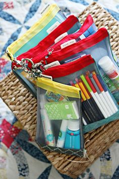 Great ideas for less stressful, ready for anything car trips! Everything you need in organized pouches. (IHeart Organizing)