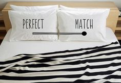 """2 Standard size pillowcases with Perfect Match written on them. Text and illustration are printed with Organic toxic-free paint, fabric used is """"Easy Care Apre"""" which get very minimal wrinkles after wash."""