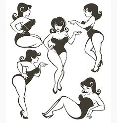 Retro Pinup girl collection vector by tachyglossus on VectorStock®
