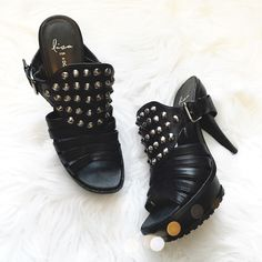 NWOT Donald Pliner Studded Heels So chic and perfect to add a little edge to any outfit! Collection by Lisa Pliner. Brand new without tags. Black leather with edgy back strap and silver studs. No trades!! 021516150gwb Donald J. Pliner Shoes Heels