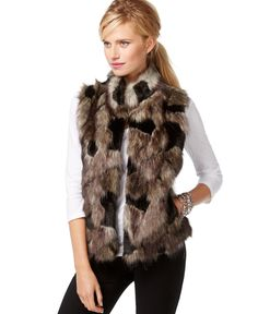 INC International Concepts Patchwork Faux-Fur Vest, Only at Macy's