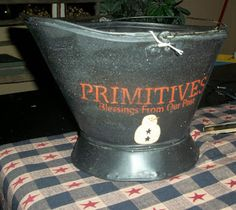 Craft Booth 555: PRIMITIVE COAL BUCKET with Snowman