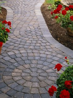 Interesting Walkway Cambridge Pavers Ideas With Flower For Outdoor Garden Ideas